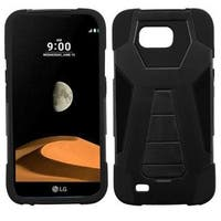 Insten Black Hard PC/ Silicone Dual Layer Hybrid Case Cover with Stand For LG V9 X Calibur