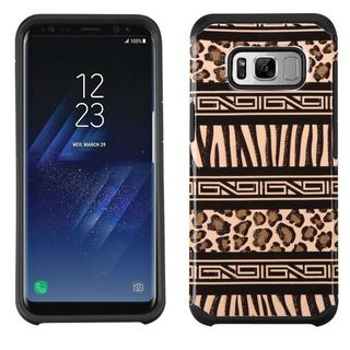 Insten Brown Zebra/ Leopard Advanced Armor Hard Snap-on Dual Layer Hybrid Case Cover For Samsung Galaxy S8