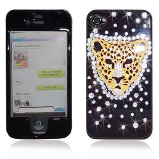 Insten Black/ Gold 3D Tiger Hard Snap-on Rhinestone Bling Case Cover For Apple iPhone 4/ 4S