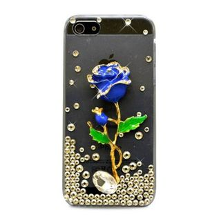 Insten Clear/ Blue 3D Rose Hard Snap-on Diamond Bling Case Cover For Apple iPhone 5/ 5S