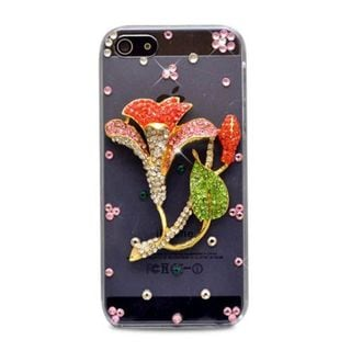 Insten Clear/ Red 3D Morning Glory Hard Snap-on Diamond Bling Case Cover For Apple iPhone 5/ 5S