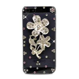 Insten Clear/ Silver 3D Flower Hard Snap-on Rhinestone Bling Case Cover For Apple iPhone 5/ 5S