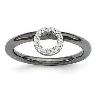 Sterling Silver Affordable Expressions Black-plated Halo Diamond Ring