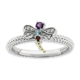 Sterling Silver&14k Affordable Expressions Gemstone & Diamond Dragonfly Ring