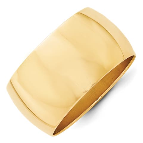 14K Yellow Gold Polished 12mm Standard Fit Half Round Band by Versil