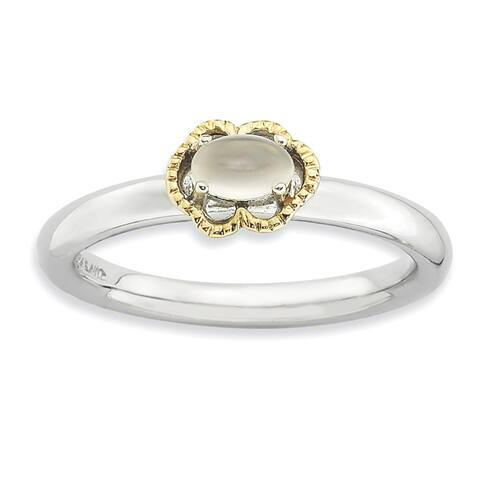 Sterling Silver and 14 Karat Affordable Expressions Moonstone Polished Ring