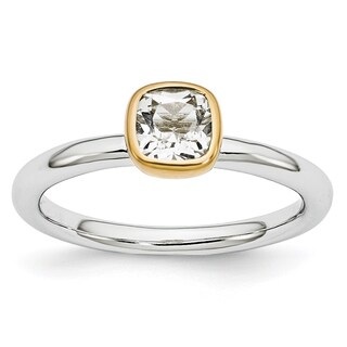 Sterling Silver Affordable Expressions w/Gold-plate White Topaz Ring