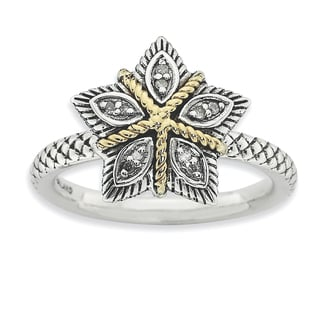 Sterling Silver & 14k Affordable Expressions & Diamond  Antiqued Ring