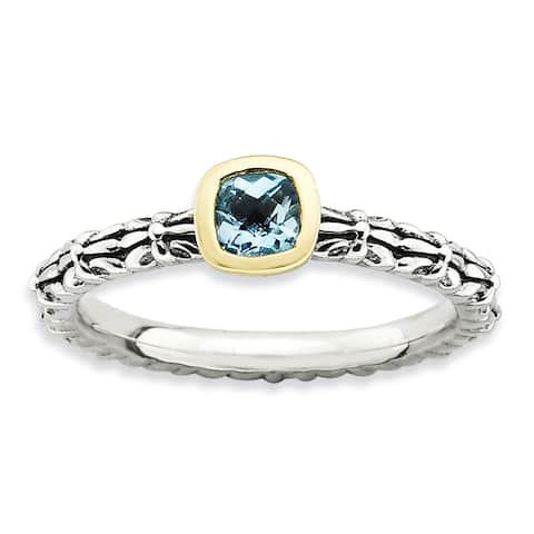 Sterling Silver and 14 karat Affordable Expressions Checker-cut Blue Topaz Ring