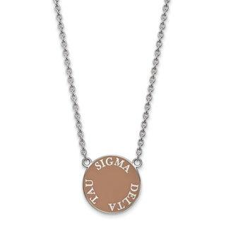 "Sterling Silver Sigma Delta Tau Medium Enameled Pendant W/18"" Chain"