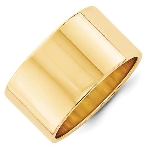 14K Yellow Gold Polished 12mm Lightweight Flat Band by Versil