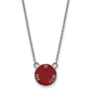 """Sterling Silver Pi Beta Phi Extra Small Enameled Pendant W/18"""" Chain"""