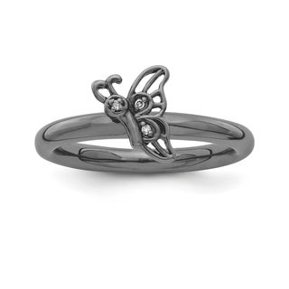 Sterling Silver Affordable Expressions Black-Plated Butterfly Dia Ring