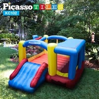 PicassoTiles Inflatable Jump, Slide and Dunk Bounce House