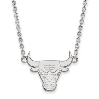 Sterling Silver Chicago Bulls Large Pendant with Necklace