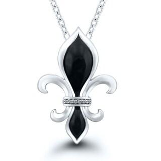 Sterling Silver 0.03ct TDW Diamond Fleur de lis Pendant with Black Enamel