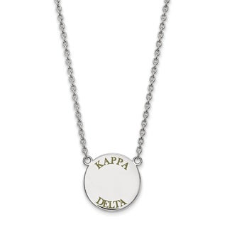 Sterling Silver Kappa Delta Small Enameled Pendant With 18 inch Chain