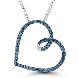 Sterling Silver 1/5ct TDW Blue Diamonds Heart Pendant