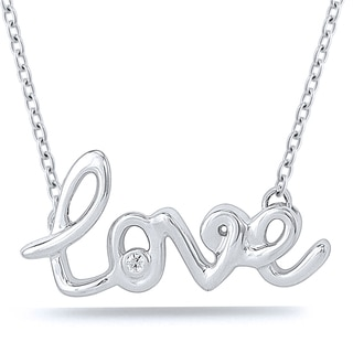 "Sterling Silver 0.01ct TDW ""Love"" Necklace"