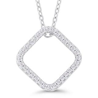 Sterling Silver, 1/10ct TDW Diamond Square Pendant