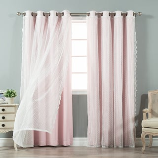 Aurora Home Mix and Match Curtains Blackout and Dot Sheer Grommet 4-piece Curtain Panel Pair