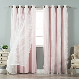 Aurora Home Mix and Match Curtains Blackout and Dot Sheer 84-inches Grommet 4-piece Curtain Panel Pair