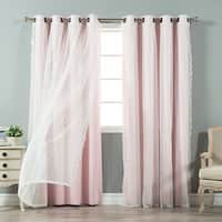 Aurora Home Mix & Match Blackout and Dot Sheer 4 Piece Curtain Panel Set - 52x84