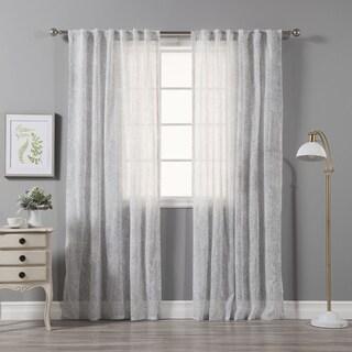 Aurora Home Faux Linen Abstract Print Curtain Panel Pair