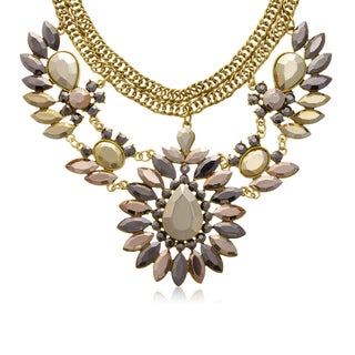Metallic Crystal Choker Bib Necklace In Gold Over Brass