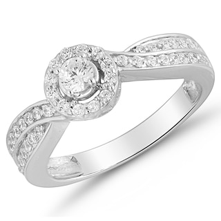 10kt White Gold, 1/2ct TDW Diamond Halo Engagement Ring