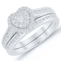 Caressa 10k White Gold 1/2CT. T.W. Diamond Heart Shape Composite Bridal Set