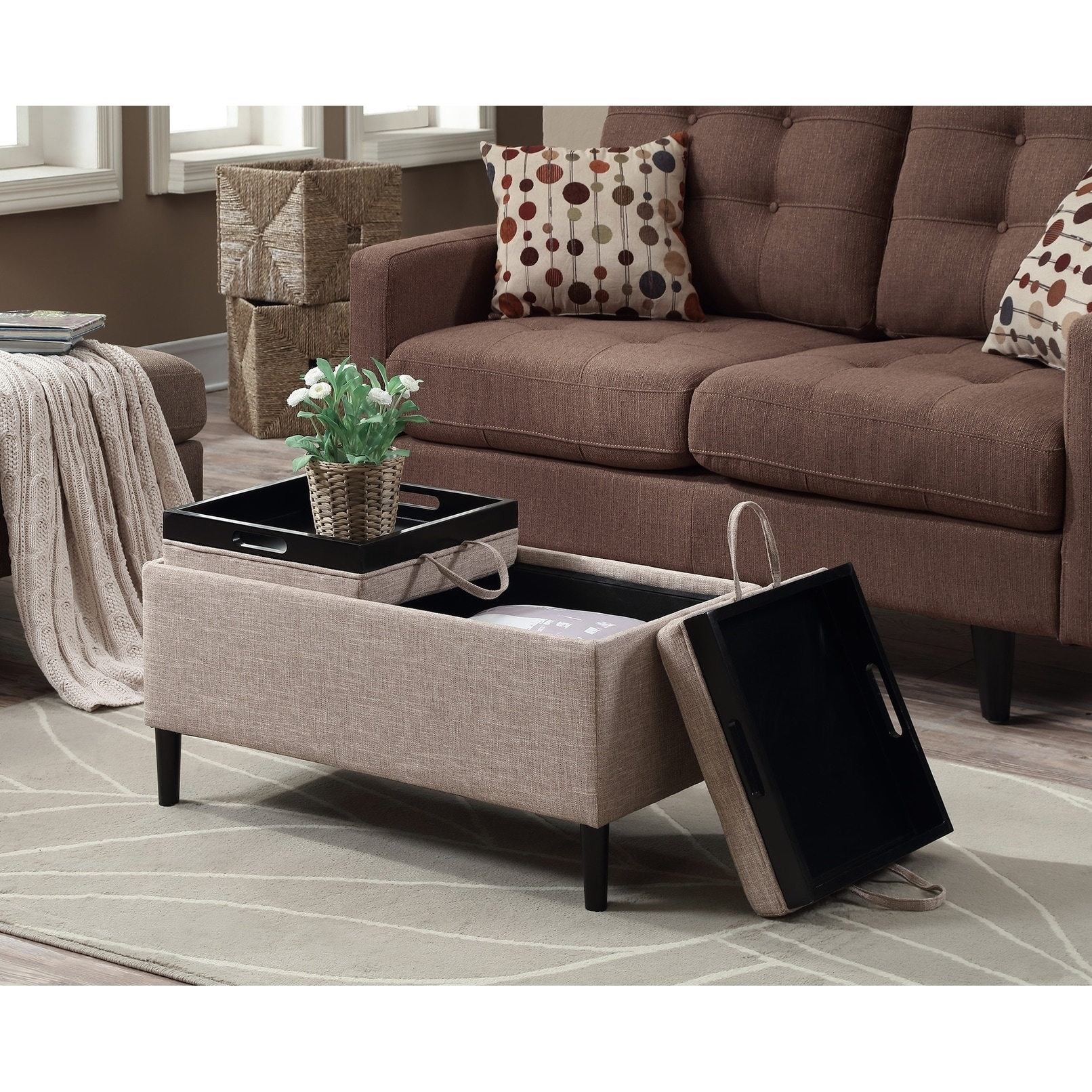 Convenience Concepts Designs4comfort Magnolia Storage Ottoman With Trays Thumbnail