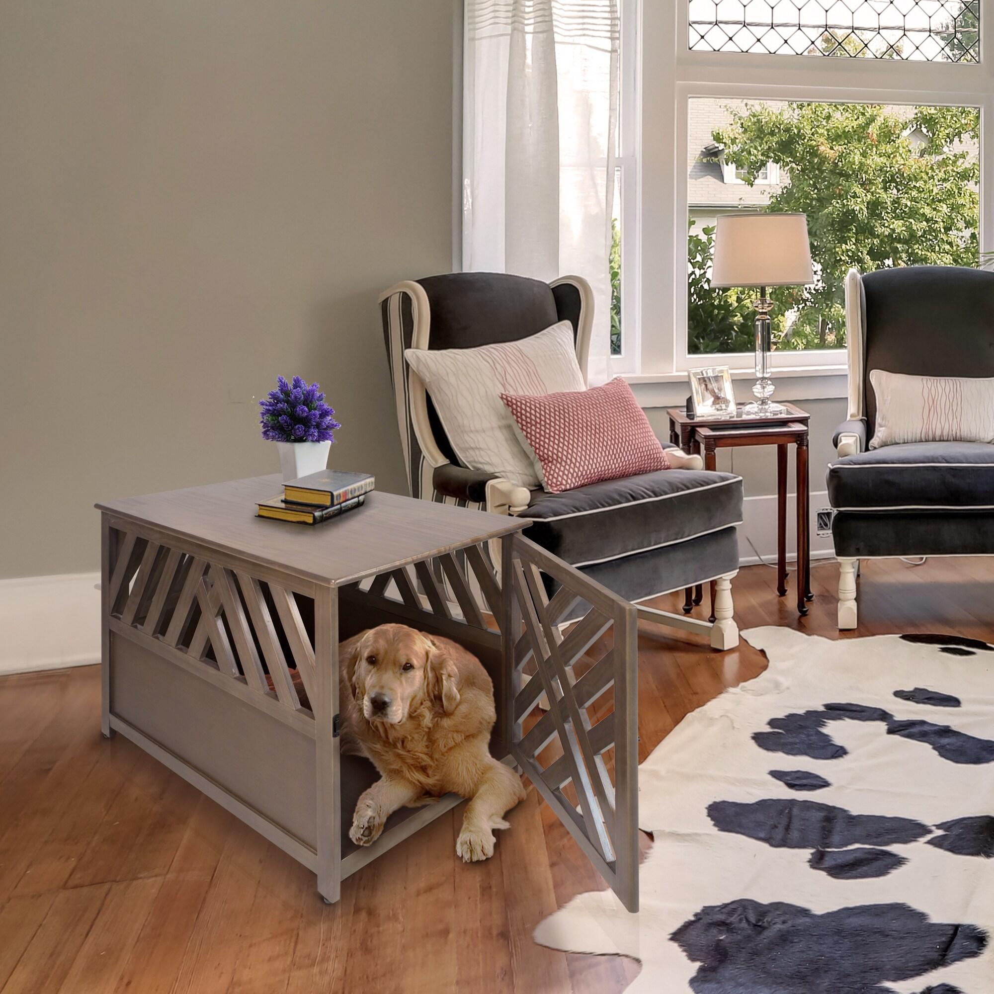 Modern Lattice Wood Pet Crate/End table (Grey), Size Medium