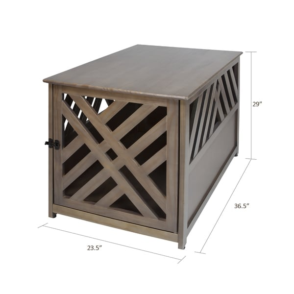 Modern Lattice Wood Pet Crate/End Table   Free Shipping Today    Overstock.com   22307130