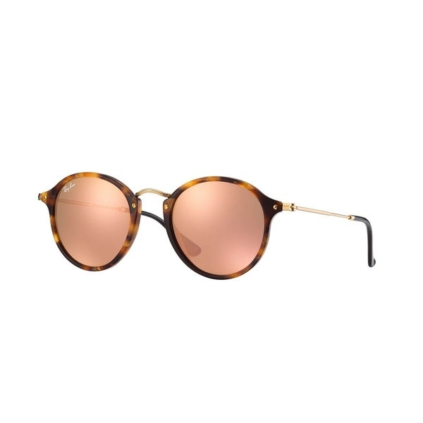 3e20f1ed77 Ray-Ban Round Fleck RB2447 Unisex Matte Tortoise Frame Copper Flash 49mm Lens  Sunglasses