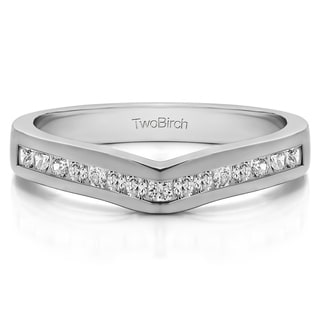 14k Gold Classic Contour Wedding Ring mounted with Diamonds (G-H, I1-I2) (0.75 Cts. twt)