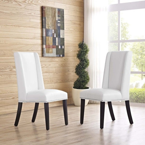 Shop Baron White Vinyl Upholstery and Wood Frame Dining ...