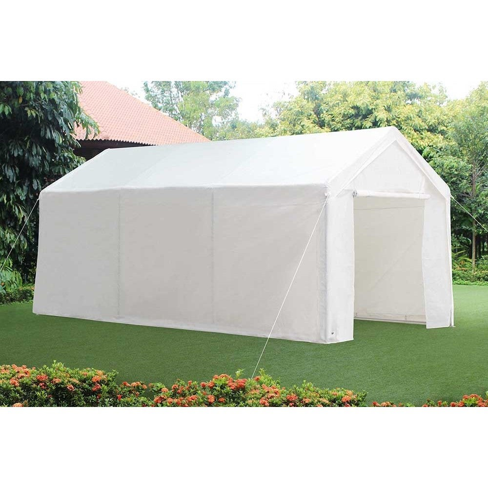 SunJoy 10ftx20ft 8pc leg carport Canopy, White (Synthetic...