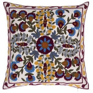 English Meadow Embroidered Linen Blend 18-inch Throw Pillow