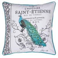 Peacock Embroidered Cotton Throw Pillow 18 x 18