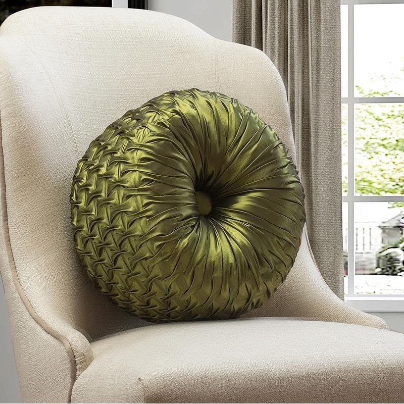 Swell Faux Silk Ruched Tufted Round Throw Pillow 14 Inch Gamerscity Chair Design For Home Gamerscityorg