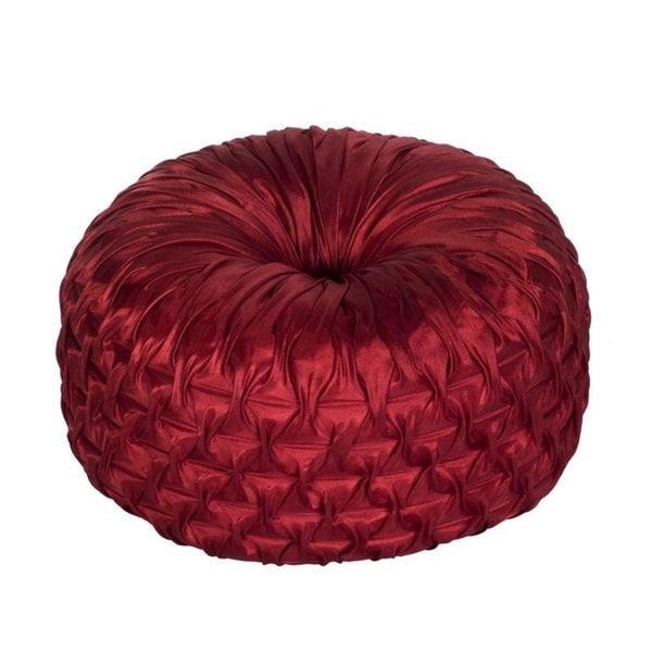 Shop Faux Silk Ruched Tufted Round Throw Pillow 40inch Free Delectable Red Round Decorative Pillows