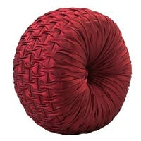 Faux Silk Ruched Tufted Round Throw Pillow 14-inch