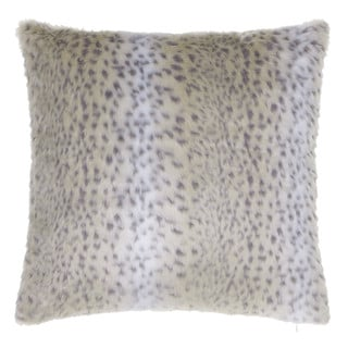 Silver Orchid Chaplin Snow Leopard Faux Fur Throw Pillow