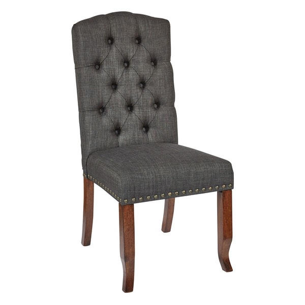 Ave Six Jessica Fabric Tufted Dining Chair With Bronze Nailheads And Coffee  Legs