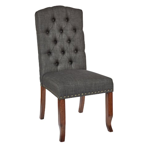 OSP Home Furnishings Jessica Fabric Tufted Dining Chair with Bronze Nailheads and Coffee Legs