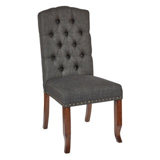 Link to OSP Home Furnishings Jessica Fabric Tufted Dining Chair with Bronze Nailheads and Coffee Legs Similar Items in Kitchen & Dining Room Chairs