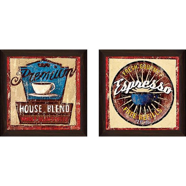 """Gold Star Coffee III"" Wall Art Set of 2, Matching Set"