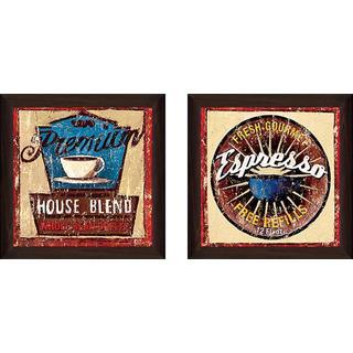 """Gold Star Coffee III"" Wall Art Set of 2, Matching Set"