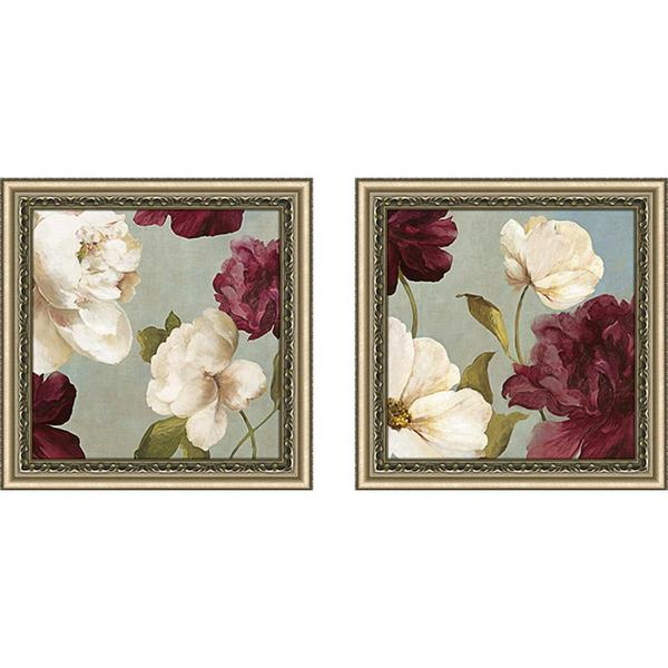 "Wall Art Set Of 2 deep peonies ii"" wall art set of 2, matching set - free shipping"